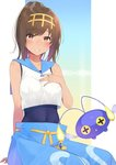 1girl blue_pants blush brown_eyes brown_hair chinchou cosplay covered_navel grin hairband hand_on_own_chest headband highres i-401_(kantai_collection) kantai_collection looking_at_viewer nezumi_doshi one-piece_swimsuit pants parted_lips pokemon pokemon_(creature) pokemon_(game) pokemon_sm sailor_collar shirt short_ponytail sleeveless sleeveless_shirt smile suiren_(pokemon) suiren_(pokemon)_(cosplay) swimsuit swimsuit_under_clothes twitter_sample