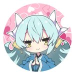 1girl bangs blue_kimono chibi closed_mouth commentary_request dragon_horns eyebrows_visible_through_hair fate/grand_order fate_(series) green_hair hair_between_eyes hands_together heart heart_background horns japanese_clothes kimono kiyohime_(fate/grand_order) long_sleeves looking_at_viewer milkpanda own_hands_together palms_together smile solo white_background wide_sleeves yellow_eyes