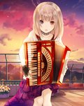 1girl absurdres accordion black_gloves blonde_hair blue_eyes choker cloud collarbone fingerless_gloves gloves heterochromia highres holding holding_instrument instrument kishida_mel layered_skirt long_hair miniskirt music open_mouth outdoors playing_instrument red_eyes red_skirt rooftop school_fanfare shirt short_sleeves skirt solo standing sunset white_shirt