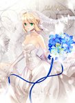 1girl ahoge artoria_pendragon_(all) bare_shoulders blonde_hair bouquet breasts bustier character_name choker cleavage commentary copyright_name dress elbow_gloves fate/stay_night fate_(series) flower gloves green_eyes looking_at_viewer medium_breasts revision ribbon saber short_hair solo watermark web_address wedding_dress weed_(astarone) white_gloves
