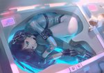 1=2 1girl android ball_gag black_gloves brown_hair cat fetal_position gag gagged gloves headphones in_container looking_at_viewer lying on_side original red_eyes short_hair solo