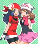2girls bandana beanie bike_shorts blue_eyes cosplay costume_switch haruka_(pokemon) haruka_(pokemon)_(cosplay) hat highres hikari_(pokemon) hikari_(pokemon)_(cosplay) multiple_girls nanjou_akimasa one_eye_closed pokemon scarf skirt smile