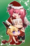 1girl 2boys :d ahoge astolfo_(fate) bangs bikini black_legwear black_ribbon blonde_hair blush braid breasts chibi christmas christmas_tree christmas_tree_costume cleavage_cutout closed closed_eyes dress eyebrows_visible_through_hair fang fate/apocrypha fate_(series) from_side fur_trim garter_straps gloves hair_ornament hair_ribbon hat horn jeanne_d'arc_(fate) jeanne_d'arc_(fate)_(all) long_braid long_hair looking_at_another looking_at_viewer male_focus medium_breasts midriff multicolored_hair multiple_boys open_mouth otoko_no_ko pink_eyes pink_hair purple_eyes red_bikini red_dress red_gloves red_legwear red_ribbon red_shirt ribbon santa_costume santa_gloves santa_hat shirt shoes short_hair short_sleeves shorts sieg_(fate/apocrypha) silver_hair single_braid skirt smile swimsuit thighhighs thighhighs_under_boots tusia two-tone_hair very_long_hair