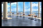 blue_sky cafe chair cityscape cloud cloudy_sky commentary_request day handrail highres indoors landscape menu mountainous_horizon nagitake_(pixiv30710477) no_humans original pillar sky table tile_floor tiles window