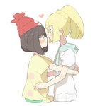 2girls beanie black_hair blonde_hair blush eye_contact from_side green_eyes hat heart hug lillie_(pokemon) long_hair looking_at_another mizuki_(pokemon) multiple_girls parted_lips pleated_skirt pokemon pokemon_(game) pokemon_sm ponytail profile puffy_short_sleeves puffy_sleeves red_headwear shirt short_hair short_sleeves sidelocks simple_background skirt tareme tied_shirt unapoppo upper_body white_background white_shirt white_skirt yellow_shirt yuri