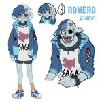 1boy :3 androgynous blue_hair blue_jacket blue_skin blush_stickers character_name closed_mouth collar da_huang fang hair_ornament hairclip jacket missing_eye multicolored_hair multiple_views musical_note open_mouth personification red_eyes romero_(zombie_land_saga) saga_prefecture sharp_teeth shoes short_hair shorts simple_background smile socks spiked_collar spikes teeth two-tone_hair white_background zombie_land_saga