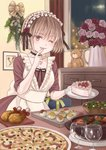 1girl ;p apron box breasts cake chest_of_drawers choker city_lights cleavage commentary_request cup curtains dress drinking_glass finger_licking flower food frilled_choker frills fruit gift gift_box hair_between_eyes hairband head_tilt holding holding_plate indoors karaage kisshou_mizuki leaning licking light_brown_hair lolita_hairband looking_at_viewer maid maid_apron night nigirizushi one_eye_closed original picture_frame pinecone pink_flower pink_rose pizza plate purple_dress purple_eyes red_flower red_rose rose salad short_hair small_breasts smile solo standing stew strawberry stuffed_animal stuffed_toy sushi table teddy_bear tongue tongue_out vase whipped_cream window wine_glass