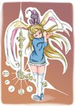 1girl absurdres alice_(wonderland) alice_in_wonderland animal_ears blonde_hair blue_dress blue_eyes blue_footwear brown_background bunny_ears bunny_tail cheshire_cat clock_hands commentary_request doitsuken dress gradient gradient_background highres horizontal_stripes long_hair long_sleeves looking_at_viewer one_eye_closed solo striped tail thighhighs walking white_legwear