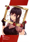 1girl 2018 absurdres bangs black_choker black_dress black_gloves black_hair blush breasts choker cleavage dengeki_moeou dress floral_print flower framed_image glasses gloves grey-framed_eyewear hair_between_eyes heart heart_print highres holding large_breasts long_hair looking_at_viewer magazine_scan mole mole_under_eye nail_polish official_art page_number parted_bangs parted_lips patterned_background pink_eyes pink_lips print_dress red_flower red_nails rose round_teeth sakuramachi_touko sasamori_tomoe scan see-through semi-rimless_eyewear solo succubus_stayed_life teeth translation_request white_background