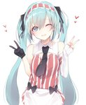 1girl ;d apron bare_shoulders black_bow black_gloves black_neckwear blue_eyes blush bow commentary_request detached_sleeves double_v dress gloves green_hair hair_between_eyes hatsune_miku head_tilt headdress heart kojiki-life long_hair looking_at_viewer one_eye_closed open_mouth single_glove single_sleeve sleeves_past_wrists smile solo striped striped_dress twintails v very_long_hair vocaloid waist_apron waitress white_apron white_background wing_collar