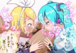 2girls anilingus aqua_eyes aqua_hair blonde_hair blush breasts fellatio hatsune_miku heart heart-shaped_pupils kagamine_rin multiple_girls nail_polish nipples oral penis pubic_hair small_breasts symbol-shaped_pupils testicles translation_request twintails vocaloid