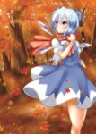 1girl autumn_leaves blue_eyes blue_hair blush bow cirno dress dress_shirt hair_bow highres ice ice_wings leaf looking_away looking_up maple_leaf nogiguchi outdoors puffy_short_sleeves puffy_sleeves scarf shirt short_hair short_sleeves smile solo touhou tree wings
