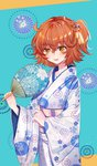 1girl :d bangs baocaizi blush brown_eyes brown_hair eyebrows_visible_through_hair fan fate/grand_order fate_(series) floral_print fujimaru_ritsuka_(female) hair_between_eyes hair_ornament hand_up highres holding holding_fan japanese_clothes kimono long_sleeves looking_at_viewer obi one_side_up open_mouth paper_fan print_kimono sash smile solo white_kimono wide_sleeves