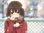 1girl blush breath brown_eyes brown_hair bust cardigan chain-link_fence cold hair_ornament hairclip holding nuko_(mikupantu) original scarf sleeves_past_wrists snow snowing solo strap