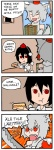 2girls 4koma :t comic eating eyebrows fang finnish food hot_dog inubashiri_momiji ketchup mario_(series) multiple_girls mustard pun raphael_the_raven setz shameimaru_aya super_mario_bros. sword thick_eyebrows touhou translated weapon