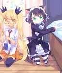 2girls animal_ears aqua_eyes bangs beamed_eighth_notes bedroom beige_fur bell black_footwear black_hair black_legwear black_neckwear blonde_hair bow bowtie cat_ears cat_girl cat_tail cellphone center_frills claws collared_shirt commentary curly_hair cyan_(show_by_rock!!) dress_shirt dropping eighth_note furry glasses gothic_lolita green_eyes hands_up highres indoors jingle_bell kyuuri_(miyako) lolita_fashion long_hair long_sleeves looking_at_viewer maid_headdress mary_janes miniskirt multicolored multicolored_eyes multiple_girls musical_note on_floor open_mouth orange_skirt outstretched_arms phone pleated_skirt quarter_rest red_neckwear retoree ringlets shirt shoes short_eyebrows short_hair show_by_rock!! skirt sleeves_rolled_up smartphone smartphone_case staff_(music) striped striped_legwear tail thighhighs treble_clef tsurime twintails very_long_hair white_fur white_shirt wing_collar wooden_floor yellow_eyes zettai_ryouiki