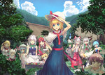 6+girls alice_margatroid alternate_eye_color bare_arms blonde_hair blue_dress blue_eyes blue_hair blue_sky braid capelet cirno closed_eyes cloud covering_mouth culter downblouse dress ellen ex-keine fire fire_extinguisher flower forest fujiwara_no_mokou gloves green_dress grill grilling hair_bobbles hair_flower hair_ornament hair_ribbon hairband hat hat_ribbon hieda_no_akyuu hong_meiling horns house izayoi_sakuya kamishirasawa_keine knife lolita_hairband maid maid_headdress mima mob_cap multiple_girls nature neckerchief one_side_up open_mouth outdoors pants pink_dress pink_eyes pink_hair plate puffy_short_sleeves puffy_sleeves red_dress red_eyes remilia_scarlet ribbon sash school_uniform serafuku shinki shirt short_sleeves silver_hair sky sleeveless sleeveless_dress smile sokrates_(touhou) suspenders tears touhou touhou_(pc-98) twin_braids yumeko