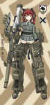 120mm_rheinmetall_l55 1girl adapted_object animal_ears bad_id bad_pixiv_id cannon character_name character_portrait commentary dakku_(ogitsune) emblem fingerless_gloves full_body gloves gun headset karlsland leopard_2_(personification) mecha_musume military red_eyes red_hair solo standing strike_witches_1991 striker_unit tail uniform weapon world_witches_series