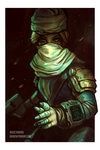 1girl androgynous bandages blonde_hair braid doctaword fallout gloves hat highres long_hair looking_at_viewer mask pip_boy pointy_ears red_eyes reverse_trap sheik solo surcoat the_legend_of_zelda the_legend_of_zelda:_ocarina_of_time the_legend_of_zelda:_twilight_princess
