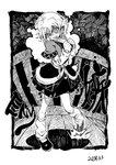 angry bare_legs biting black_footwear black_skirt blackcat_(pixiv) bridge chireiden clenched_hands clenched_teeth commentary_request dated detached_sleeves dot_nose english_text greyscale hair_between_eyes kneehighs looking_at_viewer loose_socks mizuhashi_parsee monochrome pulling railing shaded_face shoes short_hair short_sleeves skirt tapping_foot teeth touhou v-shaped_eyebrows white_legwear wooden_bridge wooden_floor wooden_railing