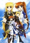 2girls absurdres bardiche belt black_legwear black_ribbon blonde_hair cape covered_navel dual_persona fate_testarossa fingerless_gloves gloves hair_ornament hair_ribbon highres holding holding_weapon long_hair looking_at_viewer low-tied_long_hair lyrical_nanoha magical_girl mahou_shoujo_lyrical_nanoha mahou_shoujo_lyrical_nanoha_strikers mahou_shoujo_lyrical_nanoha_the_movie_1st military military_uniform multiple_girls older open_mouth pantyhose pleated_skirt purple_eyes raising_heart red_eyes red_hair ribbon side_ponytail skirt takamachi_nanoha thighhighs tsab_air_military_uniform tsab_executive_military_uniform uniform very_long_hair weapon white_ribbon white_skirt wky younger