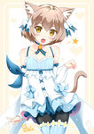 1boy :d animal_ears arm_ribbon artist_signature bangs bare_shoulders black_legwear blue_bow blue_choker blue_legwear blue_ribbon blush bob_cut bolo_tie bow bow_dress brown_hair cat_ears cat_tail catstudioinc_(punepuni) choker clenched_hand collarbone commentary cowboy_shot cross-laced_clothes crossed_legs detached_sleeves dress dress_bow eyebrows_visible_through_hair fang felix_argyle frilled_dress frills front-tie_top hair_between_eyes hair_bow hair_ribbon halftone halftone_background hand_up happy heart heart_background jewelry large_bow layered_dress looking_at_viewer male_focus open_hand open_mouth otoko_no_ko pantyhose parted_bangs paw_pose pendant re:zero_kara_hajimeru_isekai_seikatsu ribbon short_dress short_eyebrows short_hair simple_background slit_pupils smile solo spaghetti_strap spoken_star standing striped striped_legwear striped_ribbon tail thick_eyebrows thighhighs thighhighs_over_pantyhose two-tone_background vertical-striped_legwear vertical_stripes white_background white_bow yellow_background yellow_eyes