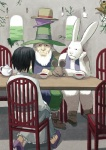 1boy 1girl alice_(wonderland) alice_in_wonderland dormouse hat mad_hatter march_hare party shouhei sitting tea teapot