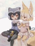 2girls animal_ears blonde_hair bow bowtie butterfly_net commentary_request common_raccoon_(kemono_friends) elbow_gloves eyebrows_visible_through_hair fang fennec_(kemono_friends) food food_on_face fox_ears fox_tail fur_collar fur_trim gloves grey_hair hand_net highres kemono_friends kolshica multicolored_hair multiple_girls open_mouth pantyhose pleated_skirt puffy_short_sleeves puffy_sleeves raccoon_ears raccoon_tail rice rice_on_face short_hair short_sleeves sitting skirt tail thighhighs white_hair zettai_ryouiki