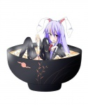 1girl animal_ears bad_id bad_pixiv_id bunny_ears cup food in_container in_cup in_food kurifuto long_hair minigirl noodles purple_hair reisen_udongein_inaba socks solo thighhighs touhou