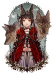 1girl animal animal_ears cloak commentary_request dress expressionless flower highres hood hood_down little_red_riding_hood little_red_riding_hood_(grimm) original plant red_cloak senano-yu wolf wolf_ears yellow_eyes