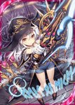 1girl >:) akkijin black_gloves card_(medium) carpet gloves hat holding holding_weapon indoors looking_at_viewer looking_up official_art polearm red_carpet runes shinkai_no_valkyrie short_shorts shorts silver_hair spear weapon witch witch_hat yellow_eyes