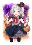 1girl :d bangs bat black_bow black_hat black_legwear black_skirt blush bow brown_eyes cape claw_pose collared_shirt commentary_request fang frilled_shirt_collar frills gao grey_hair hair_ornament halloween hat hat_ribbon horns ikeuchi_tanuma jack-o'-lantern jack-o'-lantern_hair_ornament looking_at_viewer multicolored multicolored_nails nail_polish neck_ribbon open_mouth original pantyhose red_neckwear red_ribbon ribbon sharp_nails shirt skirt sleeveless sleeveless_shirt smile solo star thick_eyebrows top_hat twintails white_shirt wrist_cuffs