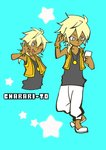 1boy ahi_tb black_shirt blonde_hair blue_background charaleet_(precure) dark_skin dark_skinned_male grey_eyes gyaruo hugtto!_precure jewelry male_focus necklace ok_sign pants parody pop'n_music precure shirt simple_background smile style_parody sweatpants tank_top vest
