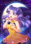 1girl :d bishoujo_senshi_sailor_moon blue_eyes blue_flower blue_rose breasts choker cleavage collarbone crescent crescent_earrings crescent_moon curly_hair dress earrings fang floating_hair flower jewelry kaminary long_hair looking_at_viewer luna_(sailor_moon) medium_breasts moon open_mouth purple_hair ribbon ribbon_choker rose signature sky sleeveless sleeveless_dress smile solo standing star_(sky) starry_sky very_long_hair yellow_dress yellow_ribbon