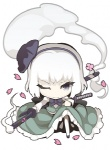 1girl black_hairband blue_eyes bob_cut cherry_blossoms chibi ghost grey_eyes hairband konpaku_youmu konpaku_youmu_(ghost) lowres one_eye_closed one_knee short_hair solo sword touhou uki_(room_405) weapon white_hair