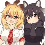 2girls :d >:) animal_ears antlers arm_at_side arms_at_sides black_hair black_scarf black_vest blonde_hair blush breast_pocket breasts brown_eyes brown_hair chawan_(yultutari) collar dot_nose eyebrows_visible_through_hair eyelashes fang fur_collar gradient_eyes gradient_hair hair_between_eyes hand_on_hip highres kemono_friends large_breasts lion_(kemono_friends) lion_ears long_hair long_sleeves looking_at_viewer mane medium_hair moose_(kemono_friends) moose_ears multicolored multicolored_eyes multicolored_hair multicolored_shirt multiple_girls necktie open_mouth plaid plaid_necktie pocket red_necktie scarf shirt short_sleeves simple_background smile sweater_vest tsurime two-tone_hair upper_body vest white_background white_shirt