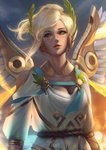 1girl alternate_costume artist_name backlighting blonde_hair blue_eyes blurry bokeh breasts cleavage depth_of_field dress feathered_wings glowing glowing_feather glowing_wings head_wreath headwear high_ponytail highres laurel_crown lazy_eye light_smile lips looking_at_viewer mechanical_wings mercy_(overwatch) nose outdoors overwatch parted_lips pink_lips raikoart see-through_silhouette short_hair short_sleeves signature small_breasts solo spread_wings toga upper_body white_dress winged_victory_mercy wings yellow_wings