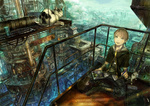 1boy bandages boots brown_hair building cat city highres holding male_focus munashichi original pipes scenery silver_hair sitting smile solo steampunk window