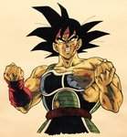 1boy angry armor bandana bardock bare_shoulders black_eyes black_hair blood blood_on_face broken broken_armor clenched_hands clenched_teeth commentary_request dirty dirty_face dragon_ball expressionless highres lee_(dragon_garou) looking_up male_focus nipples red_bandana scar serious short_hair simple_background spiked_hair tail teeth upper_body white_background