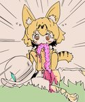2girls :3 animal_ear_fluff animal_ears artist_request bangs bare_shoulders blood blush_stickers death dot_nose elbow_gloves emphasis_lines eyebrows_visible_through_hair flying_sweatdrops gloves grass guro hat hat_feather helmet intestines kaban_(kemono_friends) kemono_friends light_brown_eyes looking_at_viewer lying multiple_girls muted_color on_back orange_gloves orange_hair orange_legwear outdoors pink_blood pith_helmet serval_(kemono_friends) serval_ears serval_tail shirt short_hair short_sleeves shorts squatting striped_tail sweat tail tareme