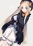 1girl abigail_williams_(fate/grand_order) bangs black_bow black_dress black_hat black_ribbon blonde_hair bloomers blue_eyes blush bow closed_mouth dated dress dress_lift dutch_angle fate/grand_order fate_(series) fedora feet_out_of_frame forehead grey_background hair_bow hat heart lifted_by_self long_hair long_sleeves looking_at_viewer motomiya_mitsuki navel orange_bow parted_bangs polka_dot polka_dot_bow puffy_long_sleeves puffy_sleeves ribbon shiny shiny_hair sidelocks signature simple_background sleeves_past_fingers smile solo speech_bubble spoken_heart standing straight_hair underwear very_long_hair white_bloomers