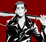 1boy black_eyes black_hair black_jacket chest facial_hair facial_scar golden_kamuy graton grin gun hair_slicked_back holding holding_gun holding_weapon jacket long_sleeves male_focus ogata_hyakunosuke red_background scar scar_on_cheek simple_background smile standing upper_body weapon