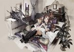 1girl :d animal_ears bed bedroom black_footwear book boots brown_hair candle chibi_(shimon) commentary cross-laced_footwear curtains cushion dragon english_commentary fantasy frills goblet indoors knee_boots lace-up_boots long_hair looking_at_viewer lying on_back open_mouth original own_hands_together picture_(object) plant potted_plant puffy_short_sleeves puffy_sleeves purple_eyes shoe_soles short_sleeves shorts shorts_under_skirt smile solo table tail window wrist_cuffs