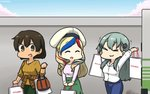 3girls >_< alternate_costume aqua_hair bag beret blue_hair blush breasts brown_hair brown_sweater closed_eyes closed_mouth commandant_teste_(kantai_collection) commentary denim eyebrows_visible_through_hair french_flag green_pants green_skirt hair_between_eyes hair_ornament hairclip hamu_koutarou hat highres hiryuu_(kantai_collection) jeans kantai_collection large_breasts long_skirt long_sleeves looking_at_another mitsukoshi_(department_store) multicolored multicolored_hair multiple_girls open_mouth pants red_hair remodel_(kantai_collection) shirt shopping_bag short_hair skirt smile streaked_hair suzuya_(kantai_collection) sweater wall white_hair white_shirt