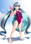 1girl 8000 ahoge barefoot commentary_request competition_swimsuit flat_chest food full_body grey_eyes grey_hair hair_between_eyes innertube kantai_collection kiyoshimo_(kantai_collection) long_hair looking_at_viewer low_twintails one-piece_swimsuit open_mouth popsicle purple_swimsuit smile solo standing swimsuit twintails very_long_hair watermelon_bar