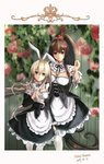 2girls absurdres alternate_costume apron artist_name black_dress blonde_hair border breasts brown_eyes brown_hair cake_no_shaberu cherry_blossoms cleavage commentary_request cosplay dated dress enmaided flower frilled_apron frills green_background grey_eyes hairband highres kantai_collection large_breasts long_hair maid maid_apron maid_headdress multiple_girls ponytail re:zero_kara_hajimeru_isekai_seikatsu rose roswaal_mansion_maid_uniform shimakaze_(kantai_collection) short_sleeves small_breasts very_long_hair waist_apron white_apron white_hairband white_legwear wooden_wall yamato_(kantai_collection)