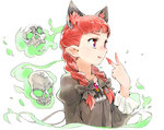 1girl animal_ears bangs black_bow blood bloody_hands bow braid brooch cat_ears closed_mouth collarbone extra_ears eyebrows eyelashes facing_away fire fronttire gem green_fire hair_bow hand_up jewelry kaenbyou_rin long_hair long_sleeves pointy_ears puffy_long_sleeves puffy_sleeves red_eyes red_hair simple_background skull solo tongue tongue_out touhou twin_braids upper_body v white_background