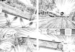 1boy 1girl absurdres ameyama_denshin antique_firearm arquebus claws cloud cloudy_sky comic doujinshi firearm firing flower flying greyscale gun highres monochrome non-web_source rumia scan sky sunflower sweat torii touhou translated tree weapon