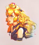 1girl absurdres asevc black_choker blonde_hair blue_eyes bowsette choker highres horns lips mario_(series) new_super_mario_bros._u_deluxe solo spiked_armlet spiked_choker spikes super_crown