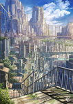 2015 artist_name bridge building city cityscape cloud cloudy_sky highres k_kanehira megastructure no_humans original plant railing scenery science_fiction sky skyscraper stairs